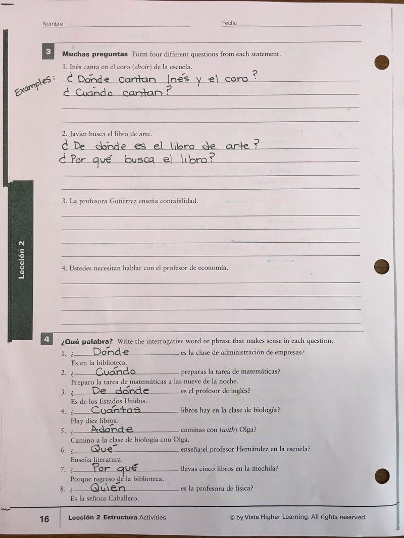 Workbooks avancemos 2 workbook answers online : Answer Key Forming Questions in Spanish - Skyline High School Spanish
